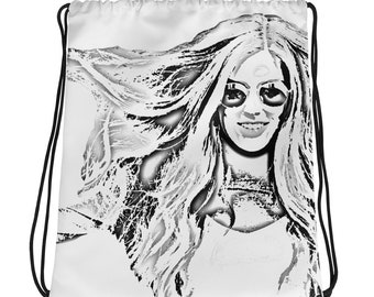 Big Hair Drawstring bag