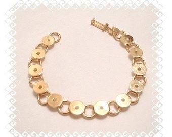 Link Bracelet Blanks - 5 Gold Plated Round Glue On Pad Bracelet Blanks