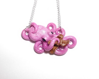 Bacon lover octopus necklace, bacon jewelry, octopus necklace, foodie jewelry, octopus bacon jewelry, bacon novelty, octopus lover