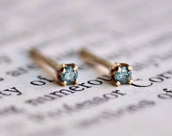 14K Tiny Blue Diamond Studs