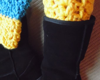 Bootcuffs, Dual Colored, Two-in-One Chunky Boot Cuffs, Boot Toppers - Medium