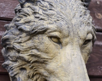 Wolf head wall plaque frost proof stone garden ornament 25cm H