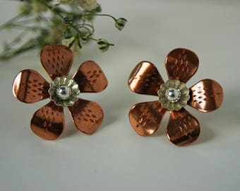 Copper Flower Stud Earrings - Mixed Metal Studs - Floral Gift for Her - OnTheBend Botanical Stud Earrings