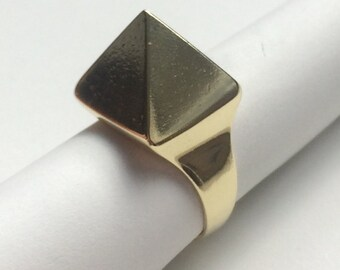 Handmade solid brass square pyramid ring.