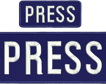 PRESS Embroidery Patch 10x4 and 5x2 inches Hook backing navy with white letters