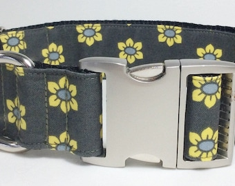 Yellow Floral Dog Collar (Multiple Widths)