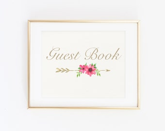 GUEST BOOK, Wedding Printable Sign, Wedding floral guest book sign, Boho Gold guest book sign, Floral sign download, Gold guest sign