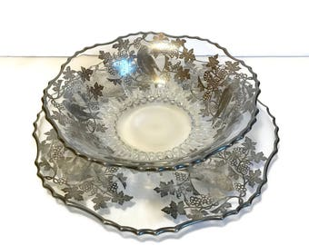 2pc Vintage Sterling Silver Overlay on Glass Birds and Berries Serving Bowl and Platter