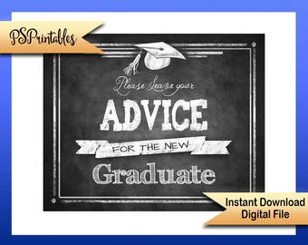 Printable Graduation Advice Sign, advice for graduate sign, grad party sign, DIY graduation sign, chalkboard grad sign, printable grad sign