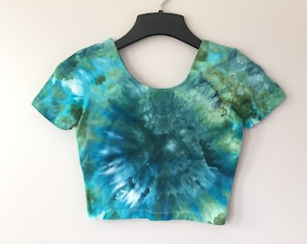 Ice Dyed Short Sleeve Crop Top, #129