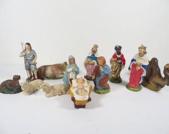 Vintage Nativity Figures Creche Set - Composite Nativity Creche