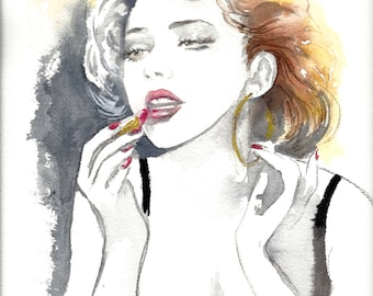 Fashion Watercolor Illustration - Figurative Painting Titled: Valentine Love - Art Print of Fashion Watercolor