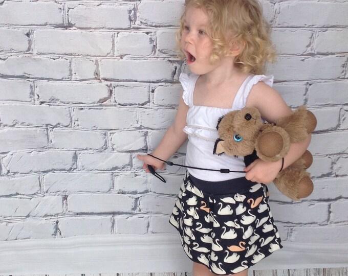 Navy Swan Pleated Toddler Skirt