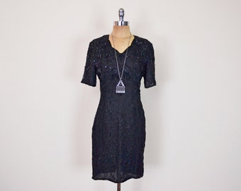 Vintage 80s Black Sequin Dress Art Deco Bead Dress Trophy Dress Silk Dress Mini Dress Midi Dress Cocktail Party Dress Evening Dress S Small