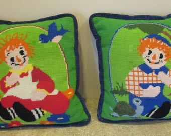 Vintage Hand Made Needlepoint Raggedy Ann and Andy Pillows