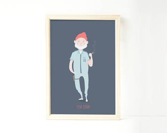 Steve Zissou art print drawing illustration Wes Anderson Bill Murray The Life Aquatic