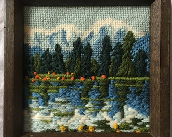 Sweet small vintage crewelwork / needlepoint landscapes - pair
