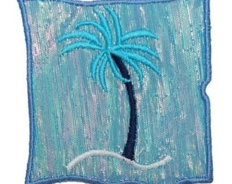 ID 0157A Tropical Palm Tree Patch Ocean Picture Embroidered Iron On Applique
