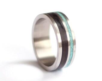 Ebony Mens Ring, Titanium Wedding Ring, Wood Mens Band, Turquoise Wedding Ring,