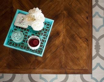 Rustic Reclaimed Wood Chevron Coffee Table