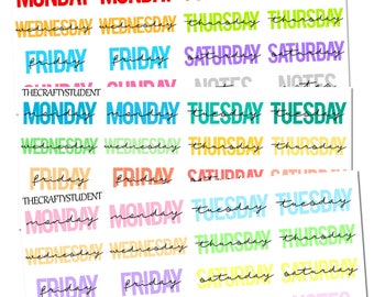 Monday - Sunday Date Covers Sheet, Functional Stickers