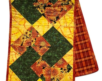 Fall Quilted Table Runner, Thanksgiving Table Cloth, Table Runner Fall,  Fall Table Topper, Orange and Yellow Table Decor, Quiltsy Handmade