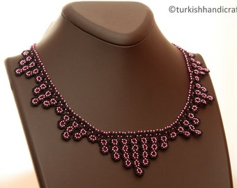 A Handmade beaded Lace Necklace produced by local Women of Cappadocia ( in Central Turkey )