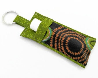 Chapstick Holder Keychain, Lip Balm Holder, Chapstick Holder, Lip Balm Keychain, Lip Balm Case, Brown and Green Mod Flowers Lip Balm Holder