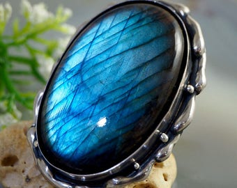 Labradorite Stone Ring Sterling Silver Jewelry