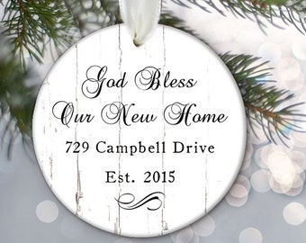 Our New Home Ornament, Personalized First Home Ornament, Christmas Ornament, Housewarming Gift, God Bless Our New Home Address OR562