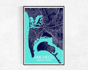 San Diego City Map Print, Custom Map Print, Map, Large Poster, Wall Art, Blue Wall Art, Travel Poster, San Diego, City Map Print