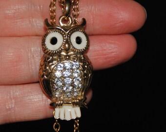 Vintage Owl Necklace, Enameled Owl Necklace, Vintage Jewelry, Owl Jewelry