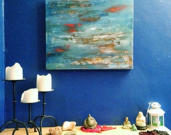 Bare bones - abstract in blue and red