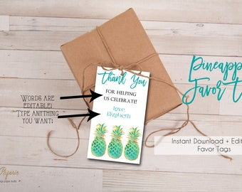 INSTANT DOWNLOAD - Pineapple Favor Tags - Tropical Luau Shower Party - Glitter Pink Pineapple Favor Tags Thank You 0219 0218 0214 0559 0660