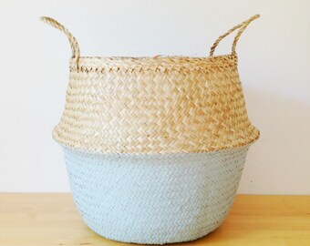 Dipped Dyed Blue Grey Belly Basket Seagrass Panier Poule Large Medium Nursery Storage Planter Picnic Bag Toy storage Home Organizer