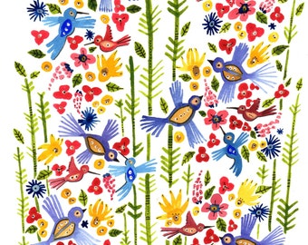 Spring Flight Bird and Floral 8x10 Print