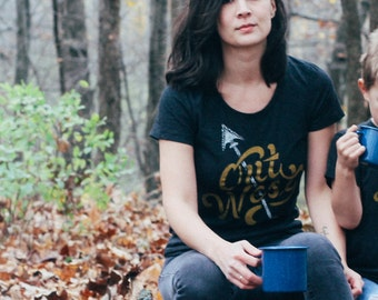 Out West Black Ladies T-Shirt. Women's tee celebrates the west coast. Made in the USA.