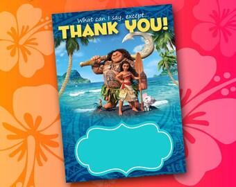 Moana Thank You Card, printable thank you card