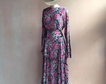 Vintage 80s Floral Side Tiered Dress w/ Attached Sash