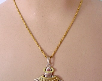 Vintage Mexico 925 Sterling Silver Angel Pendant Necklace With Gold Tone Chain