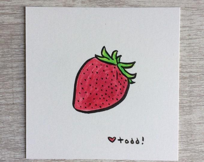 Strawberry, art, drawing, crayon drawing, original artwork