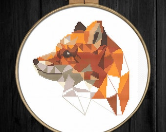 Geometric fox cross stitch pattern Animal wall art Fox cross stitch Modern trendy DIY gift Woodland animals