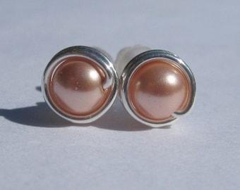 Small Rose Peach Stud Earrings (7mm), Swarovski Pearl Stud Earrings, Wire Wrapped Sterling Silver Stud Earrings, Little Stud Earrings