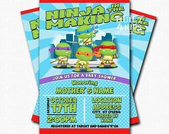 Baby Ninja turtle baby shower invitation / digital/prints