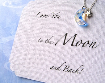 MOON and STAR Necklace Love You to the Moon & Back Moon Jewelry Crescent Moon Daughter Jewelry Granddaughter Niece Jewelry Sister Necklace