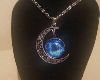Galaxy crescent moon cabochon necklace