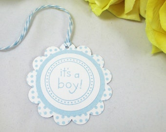 10 Baby Tags - Its a Boy Gift Tags - Baby Boy Shower Favor Tags -  Baby Boy Thank You Tags - Blue Baby Shower Tags - Baby Sprinkle Tags