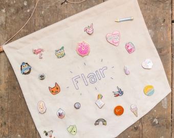 Pin Banner, Enamel Pin Display Banner, Pin Badge storage, Jewellery Storage, Flair Banner, Hanging Fabric Banner, Wall Hanging, Jewelry