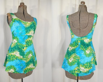 Vintage 1960s Swimsuit - 60s Bright Blue Green One Piece Bathing Suit, 1960s Swim Wear Small Skirted Swimsuit
