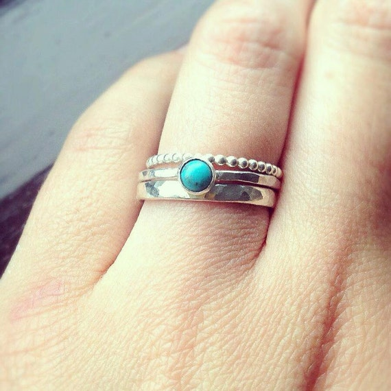 Stacking Rings Turquoise Ring Silver Stacking Rings Rings